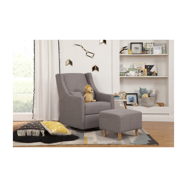 Toco Swivel Glider and Stationary Ottoman, Grey Tweed