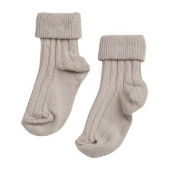 Turn Top Socks, Pale Taupe