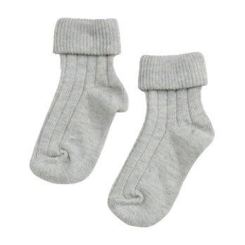 Turn Top Socks, Silver Marl