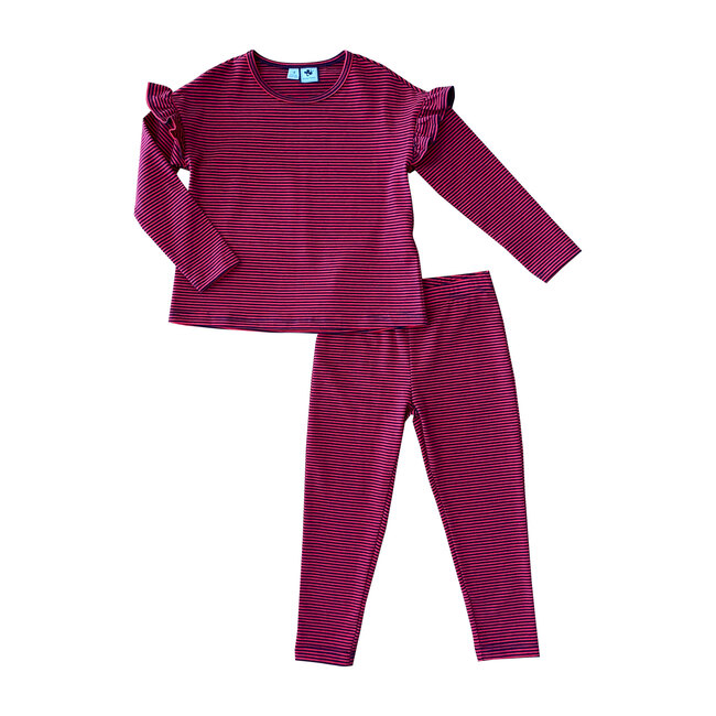 Exclusive Lizzie Knit Lounge Set, Red & Navy Ministripe