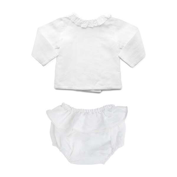 Double Button Blouse & Bloomer Gift Set, White Linen