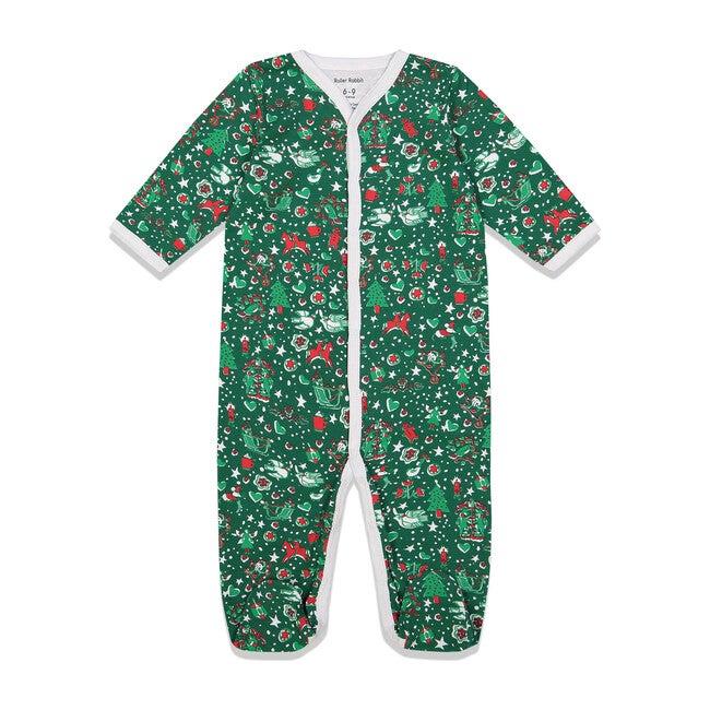 Green Baby Footie Pajamas, Jingle Bell Rock