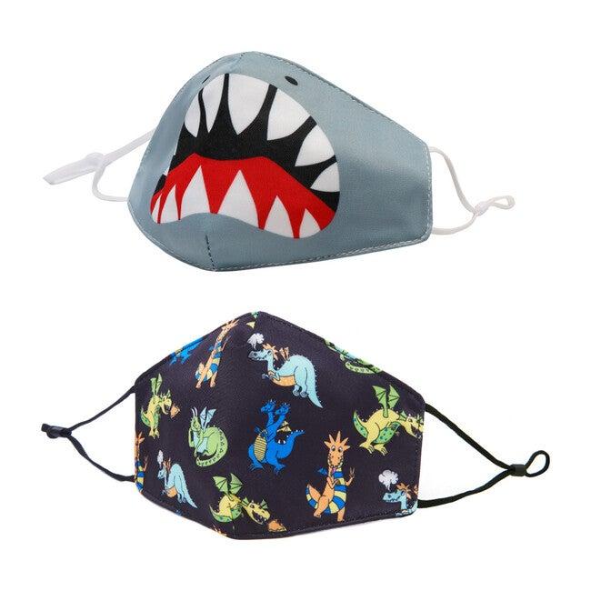 Shark & Dino Printed Face Mask Set