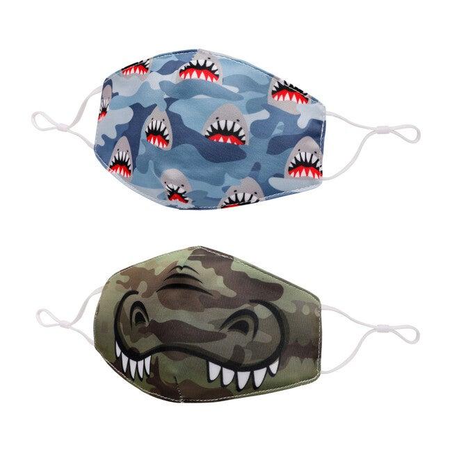 Camo Shark Print & Gator Face Mask Set