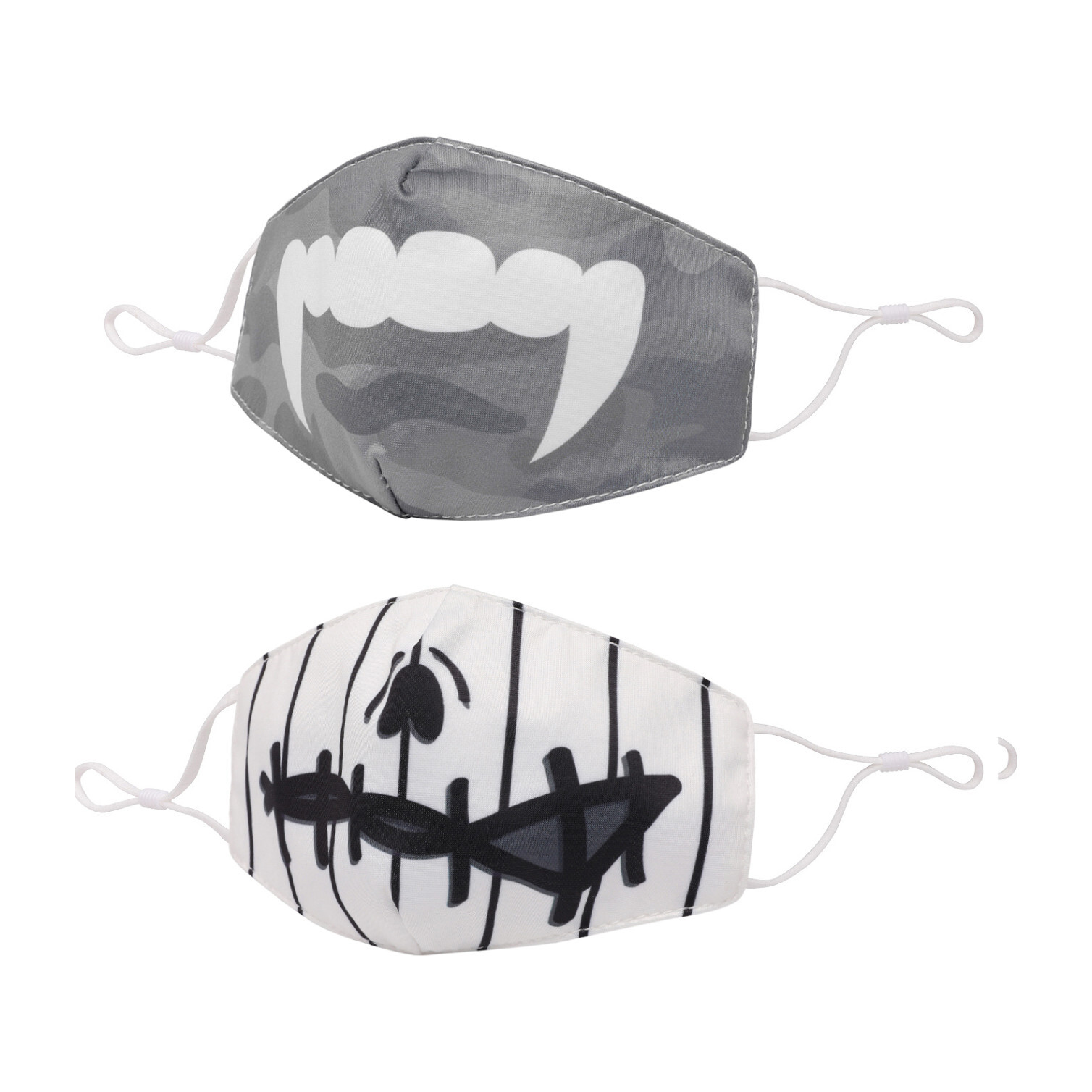 Vampire Fangs and Zombie Striped Face Mask Set