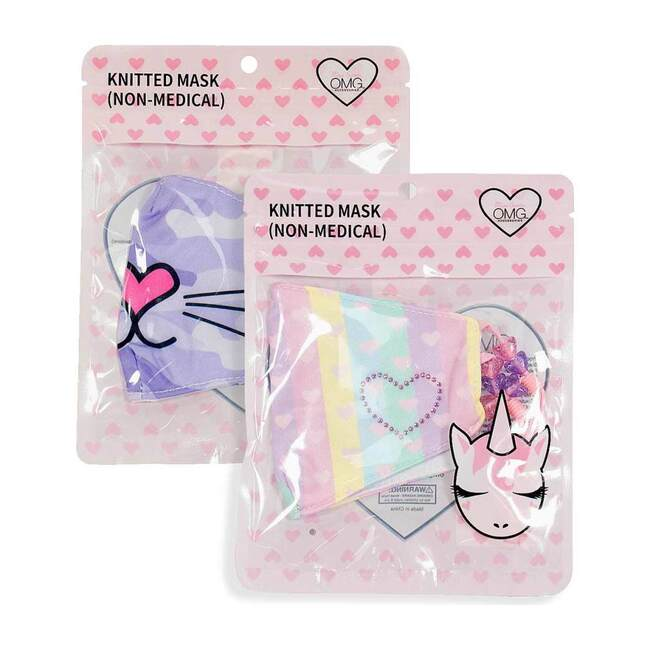 Camo Bella Kitty & Striped Ombre Heart Printed 2pc Face Mask Set