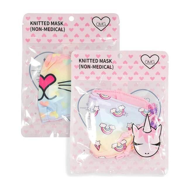 Bella Kitty Ombre Hearts & Rainbow Print 2pc Face Mask Set