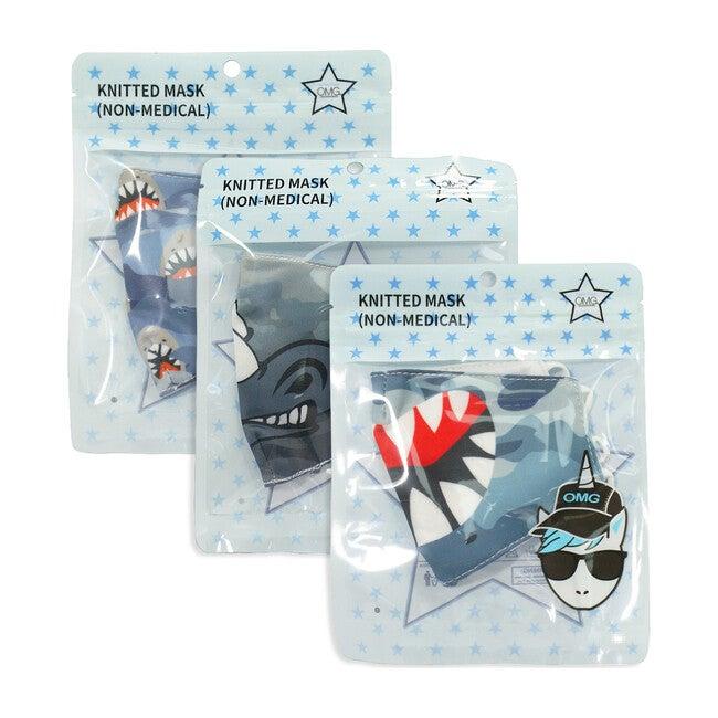 Blue Camo Shark & Rhino Printed Face Mask Bundle Set
