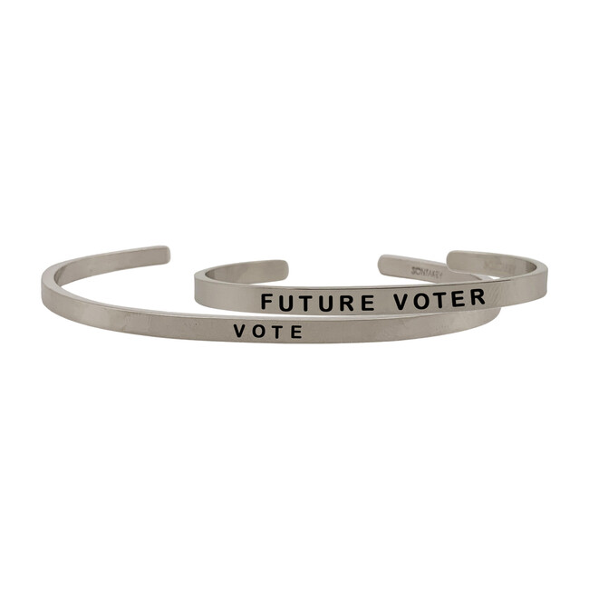 *Exclusive* Mommy & Me Vote Bracelet Set, Silver