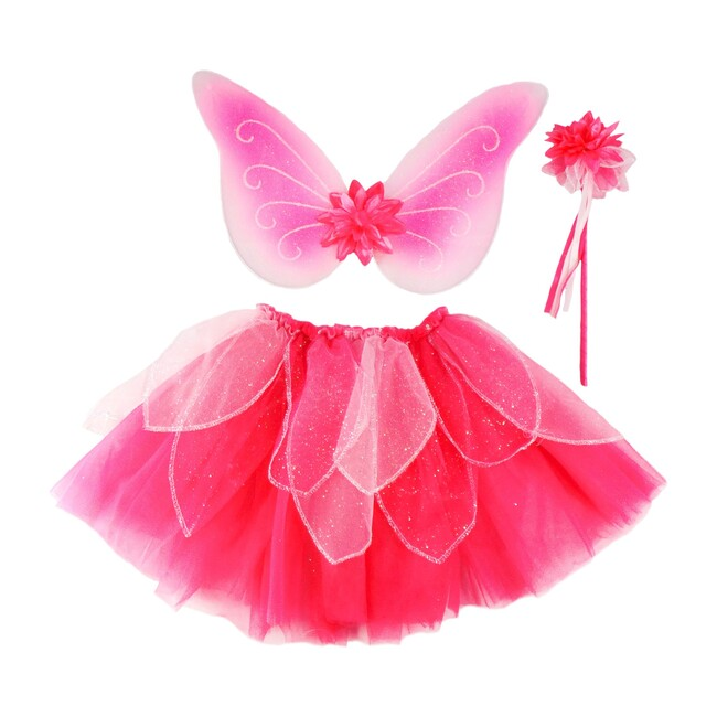 Fancy Flutter Skirt With Wings & Wand, Pink