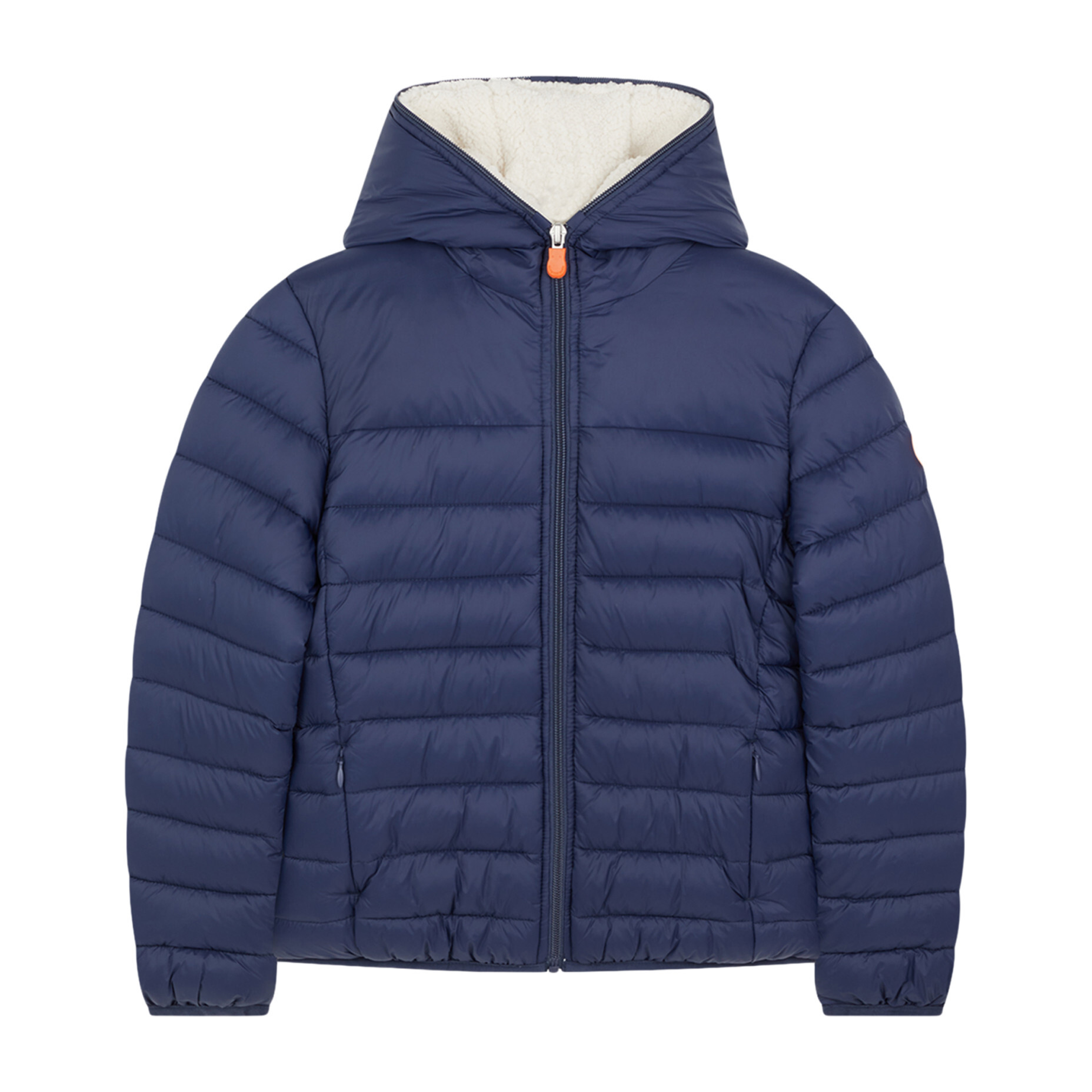 Lightweight Boys Hooded Jacket In Giga With Synthetic Lambskin Lining, Navy Blue