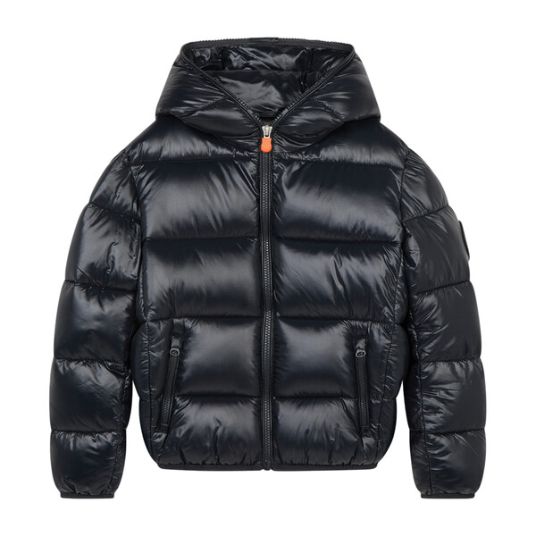 Oversized Boy's Luck Hooded Puffer Jacket, Black