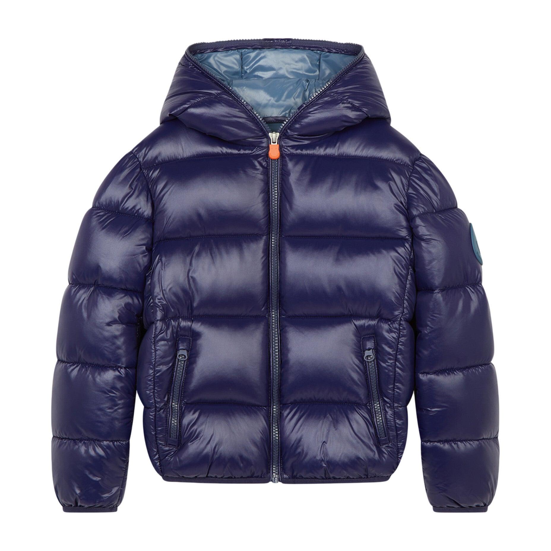Oversized Boy's Luck Hooded Puffer Jacket, Evening Blue