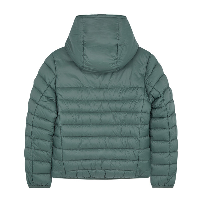 Lightweight Boys Hooded Jacket In Giga With Synthetic Lambskin Lining, Thyme Green