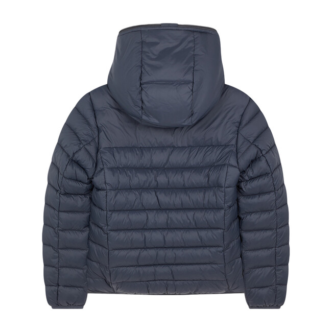 Lightweight Boys Hooded Jacket In Giga With Synthetic Lambskin Lining, Grey Black