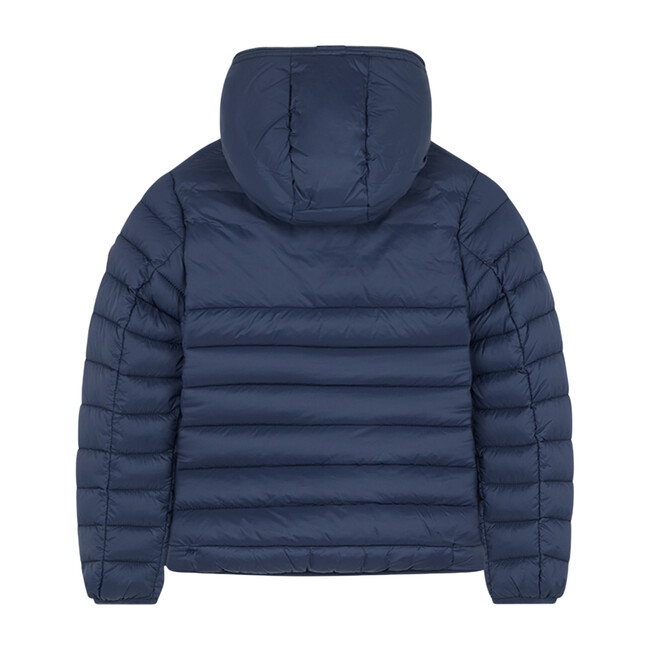 Girls Hooded Puffer Jacket In Giga With Faux Sheepskin, Navy Blue