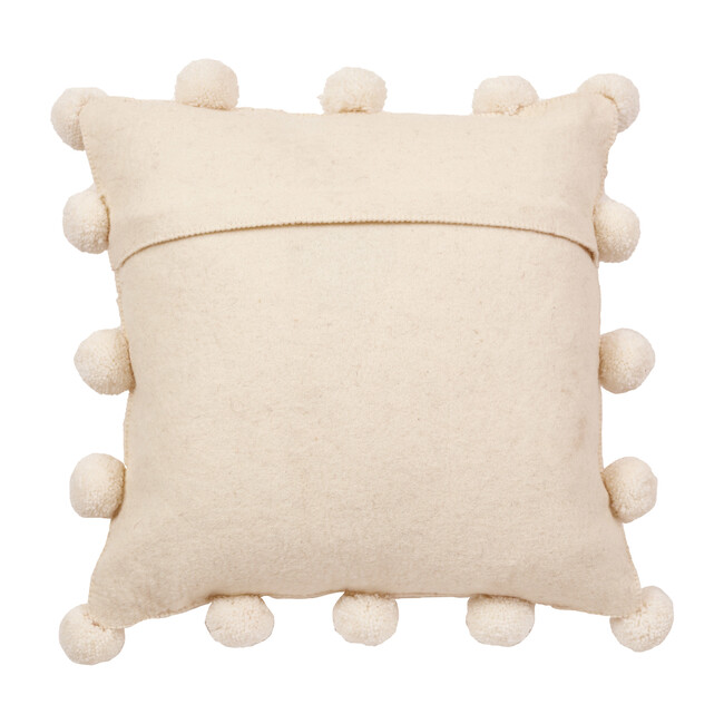 Christmas Pillow, Cream Pom Poms on Cream