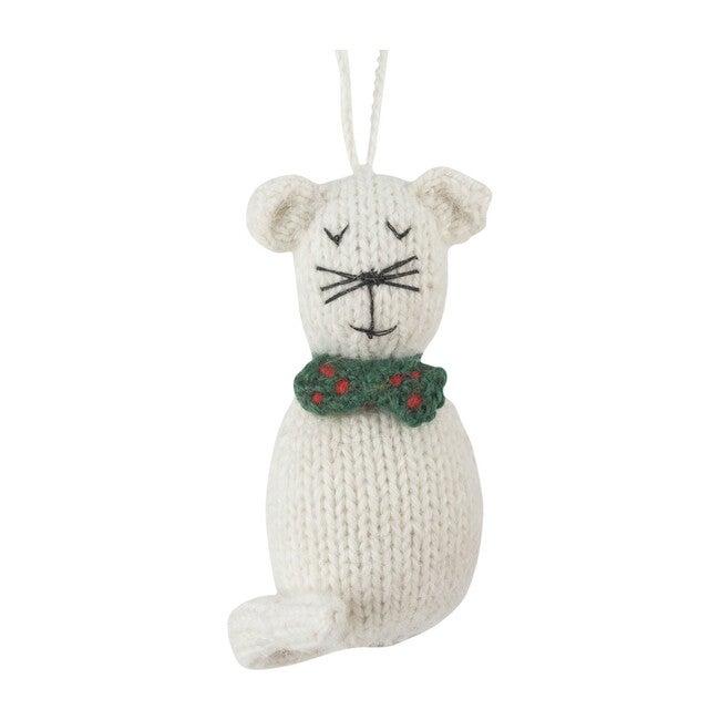 White Knit Cat Ornament
