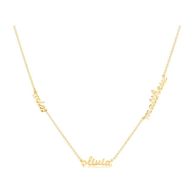 Gold Script Nameplate Necklace, 3 Names