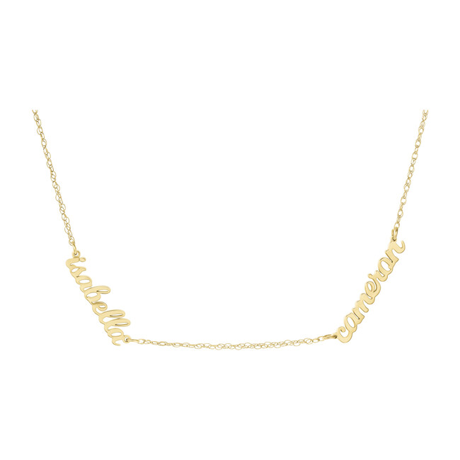 Gold Script Nameplate Necklace, 2 Names