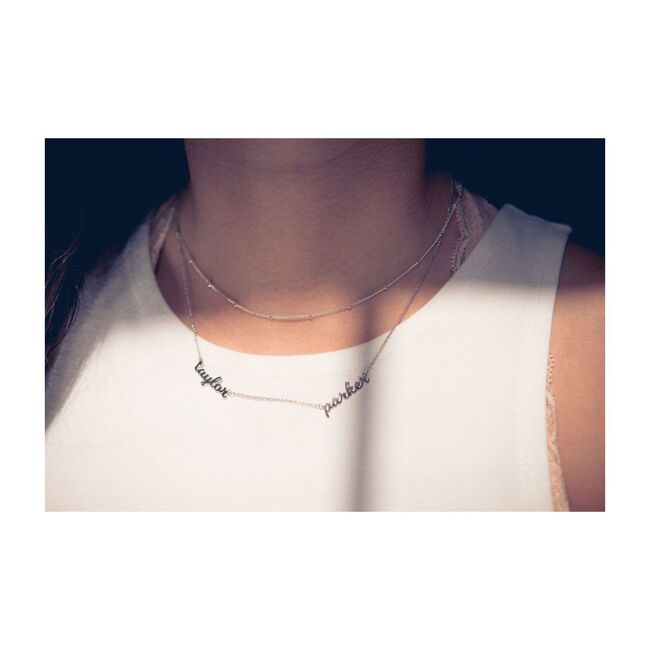 Sterling Silver Nameplate Necklace, 2 Names