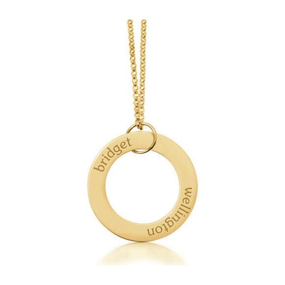 Engravable Gold Circle Pendant Necklace, 2 Names