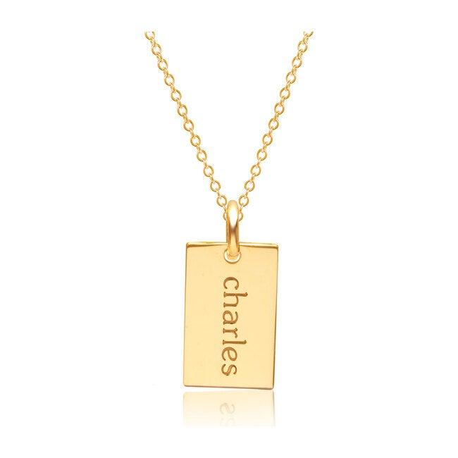 Engravable Gold Mini Dog Tag Necklace