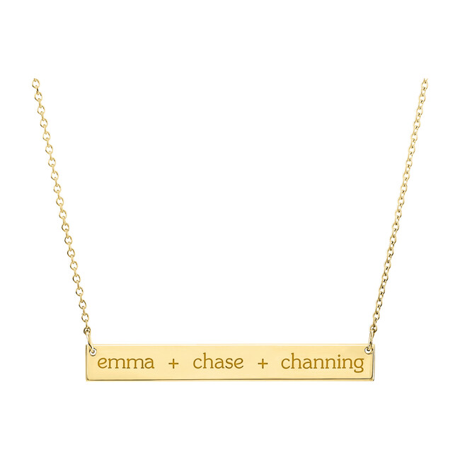 Engravable Gold Skinny Bar Necklace