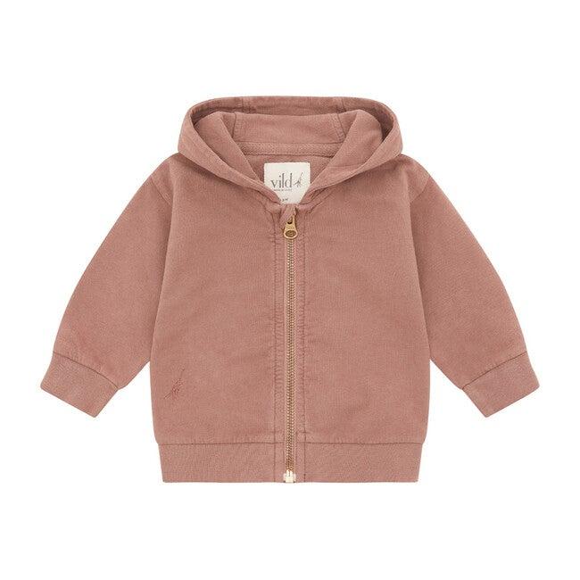 Organic Cotton Zip Up Hoodie, Natural Pink Clay & Beetroot Dye