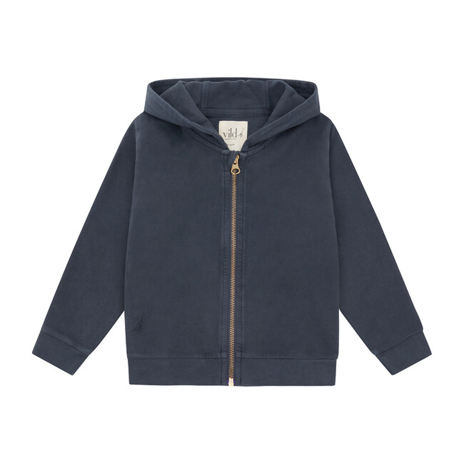 Organic Cotton Zip Up Hoodie, Natural Stone Blue & Palmetto Dye