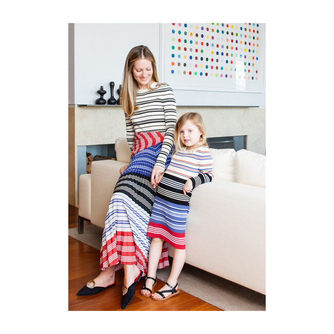 *Exclusive* Girls Barkers Knit Dress, Magnolia Multistripe