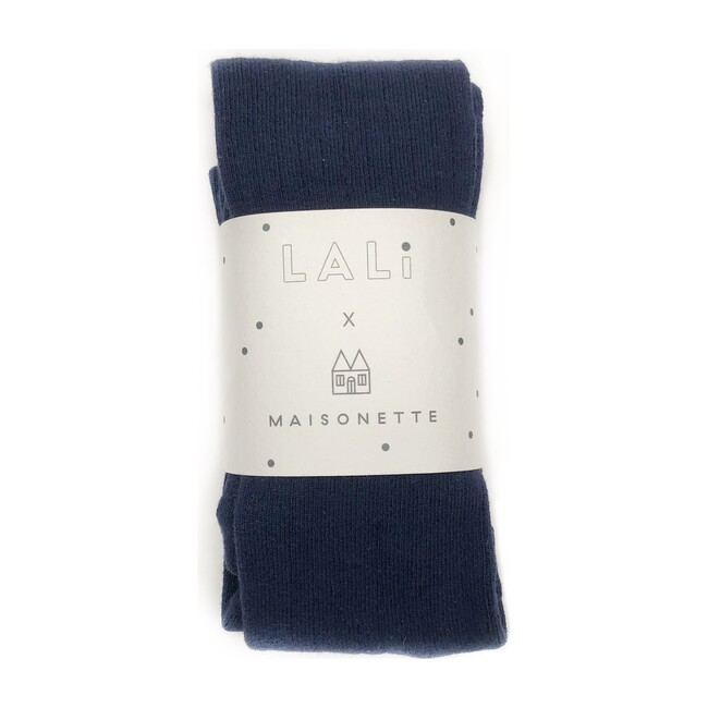 *Exclusive* Ribbed Cotton Tights, Navy Blue - Tights - 1