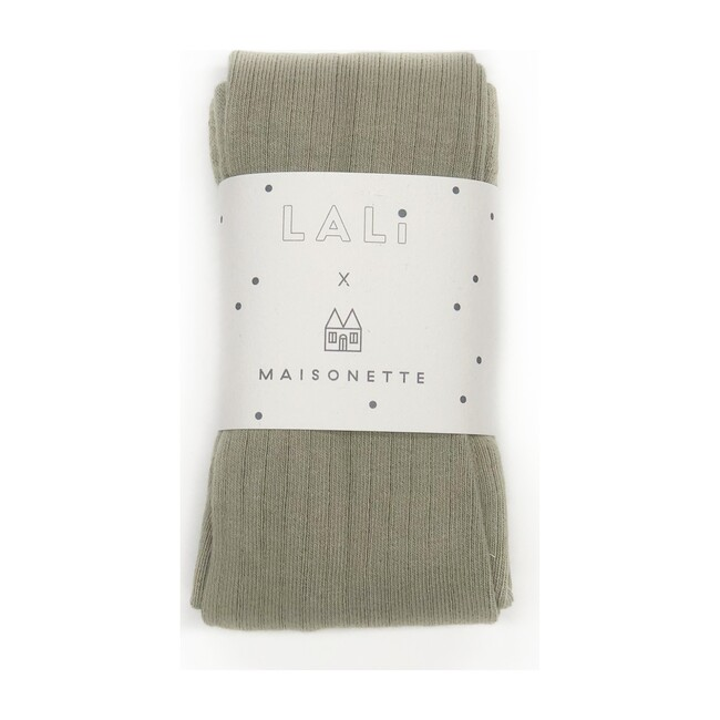 *Exclusive* Ribbed Cotton Tights, Sage
