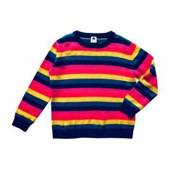 Cashmere Crewneck, Rainbow Stripe - Sweaters - 1