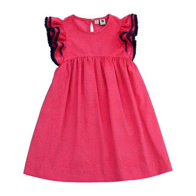 Zoe Ruffle Sleeve Dress, Pink Corduroy