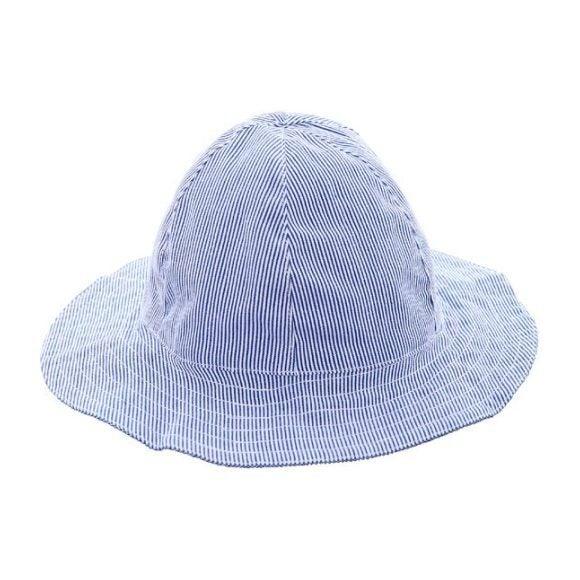 Baby Sun Hat, Navy Seersucker Stripe