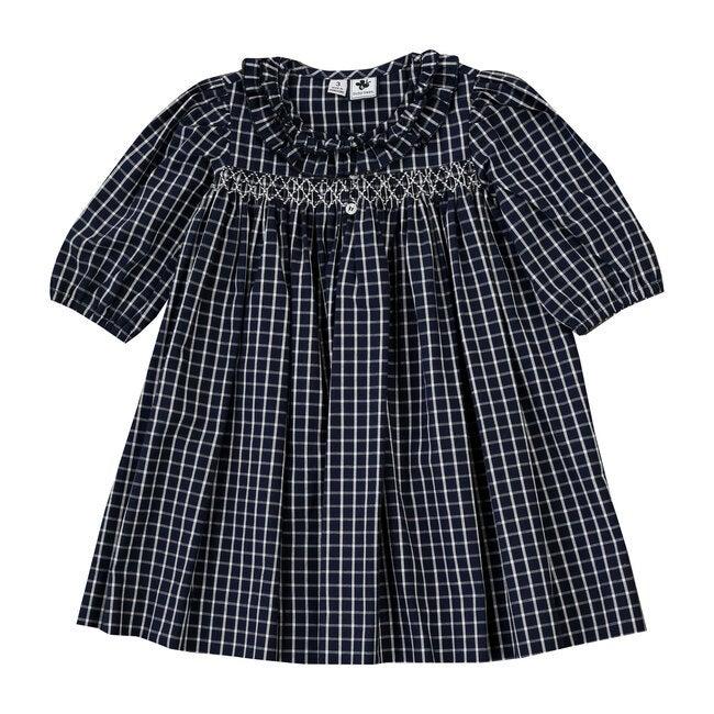Rosie Ruffle Neck Smocked Dress, Navy Check