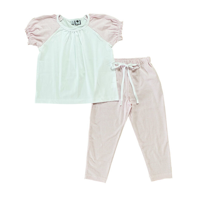 Olivia Lounge Set, Light Pink Stripes