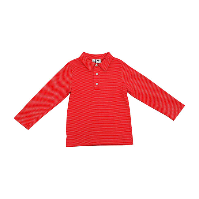 Long Sleeve Polo, Red Stripe Knit