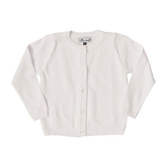 Classic Cardigan, White - Sweaters - 1
