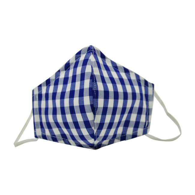 Cotton Face Mask, Navy Gingham Check