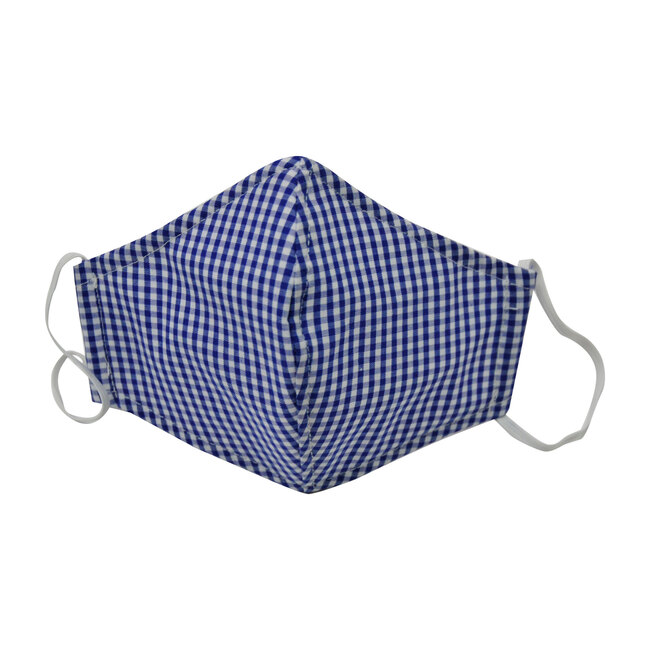Cotton Face Mask, Mini Blue Check