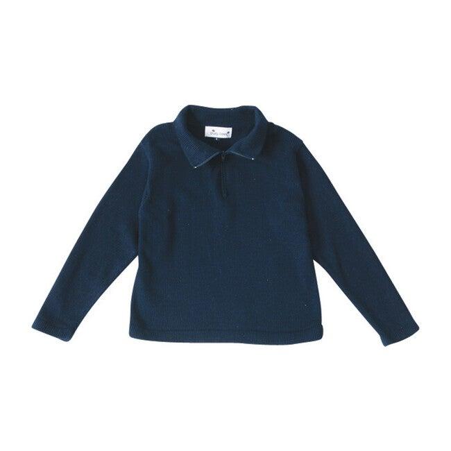 Cotton Zip Sweater, Navy