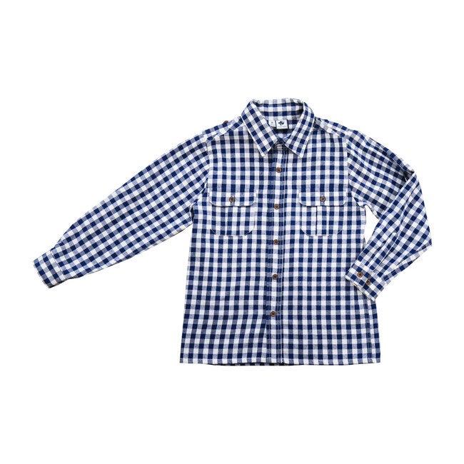 Reece Camp Shirt, Navy/Cream Buffalo Check