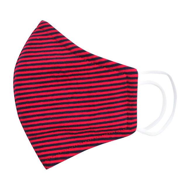Cotton Face Mask, Red Navy Mini Stripe