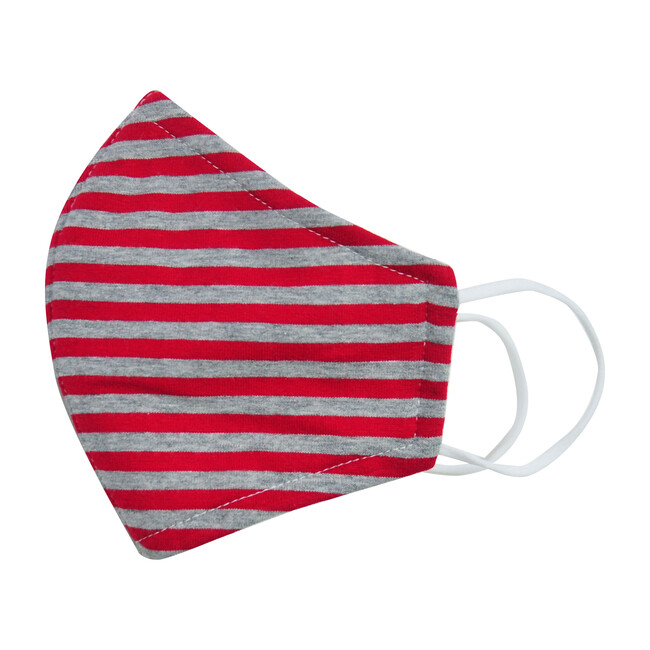 Cotton Face Mask, Red Charcoal Stripe