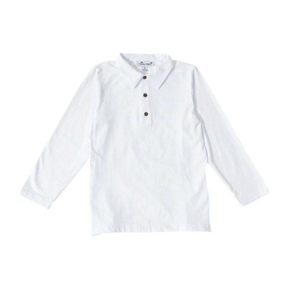 Long Sleeve Polo, White Knit