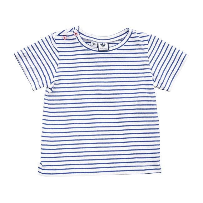 Henry Button Shoulder Button Tee, Blue Stripe - Tees - 1