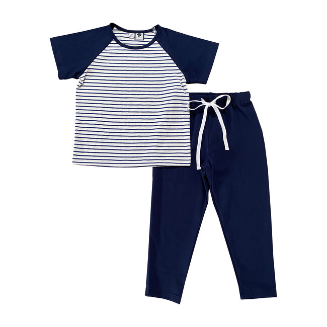 Brooks Lounge Set, Navy Stripes