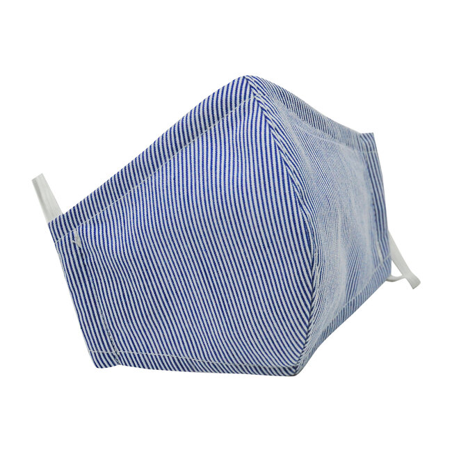 Adult Cotton Face Mask, Navy Seersucker Stripe